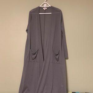 Knee length thin long sleeve cardigan
